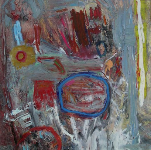 Abstract With Blue Circle, 2006, oil on canvas, 40″ x 40″