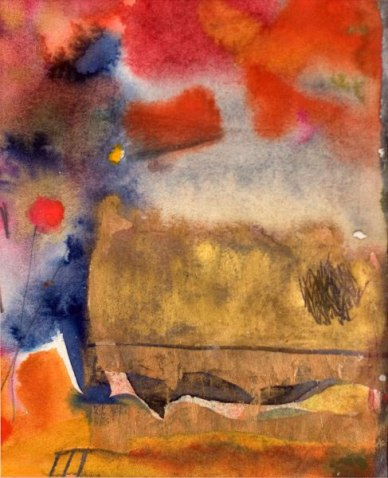 Reflections In A Pond, 1992, watercolour and acrylic ink, 8″ x 9″