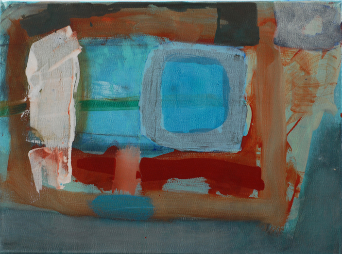 "blue pool, 2013, mixed media, 16"" x 9"""