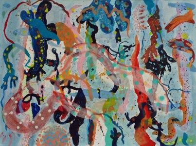 'seaweed and sea creatures II' - 100 x 75 cm - acrylic & metallic ink on canvas